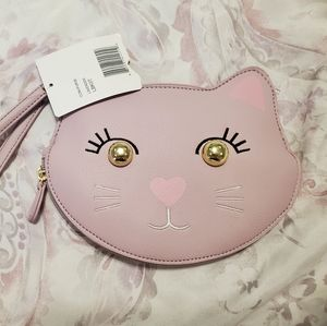 LUV Betsey Purple Cat Wristlet Purse